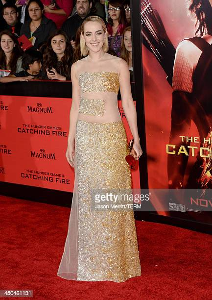 Actress Jena Malone arrives at the premiere of Lionsgate's The Hunger Games Catching Fire at Nokia Theatre LA Live on November 18 2013 in Los Angeles...