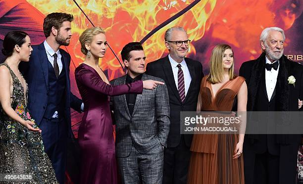 Actress Jena Malone, Australian actor Liam Hemsworth, US actress Jennifer Lawrence, US actor Josh Hutcherson, US director Francis Lawrence, US...