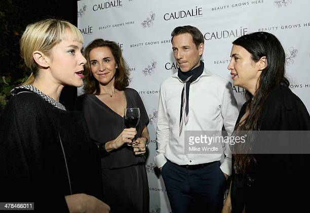 Actress Jena Malone, Caudalie Founders Mathilde Thomas, Bertrand thomas and actress Shiva Rose attend the Caudalie Boutique Spa grand opening at...
