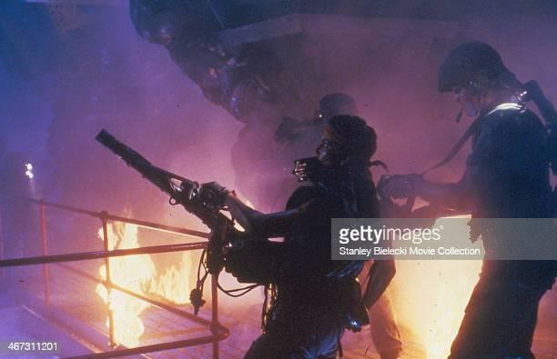 Actress Jenette Goldstein in a scene from the movie 'Aliens' 1986
