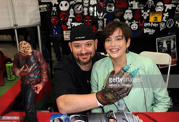 Actress Jenifer Rubin with Robby Atkinson at the 2016 Monsterpalooza Horror Convention held at Pasadena Convention Center on April 23 2016 in...