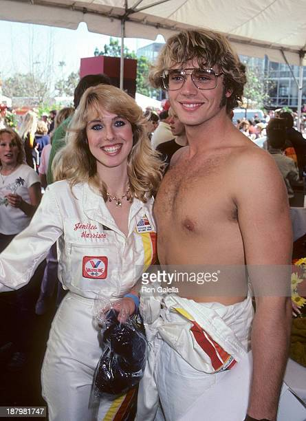 Actress Jenilee Harrison and actor John Schneider attend the Fifth Annual Toyota Pro/Celebrity Race Race Day on March 14 1981 at the Long Beach...