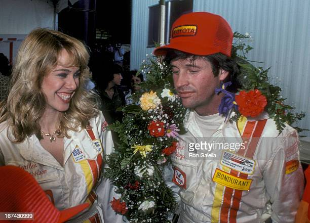 Actress Jenilee Harrison and actor Robert Hays attend the Fifth Annual Toyota Pro/Celebrity Race - Race Day on March 14, 1981 at the Long Beach...