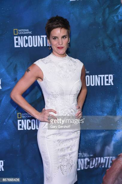 Actress Jenn Colella attends the National Geographic Encounter Blue Carpet VIP preview celebration on October 4 2017 in New York City