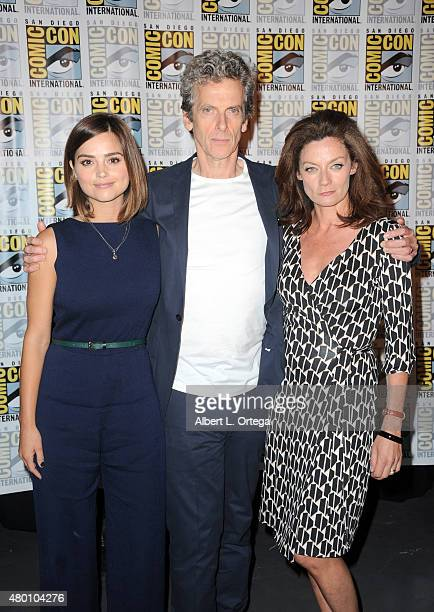 """Actress Jenna Coleman, actor Peter Capaldi and actress Michelle Gomez attend BBC America's official panel for """"Doctor Who"""" during Comic-Con..."""