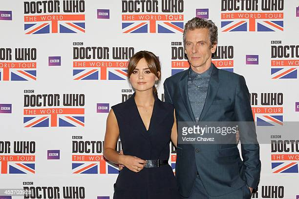 Actress Jenna Coleman and actor Peter Capaldi attend the Doctor Who The World Tour Mexico City photo call at Hilton Centro Histórico hotel on August...