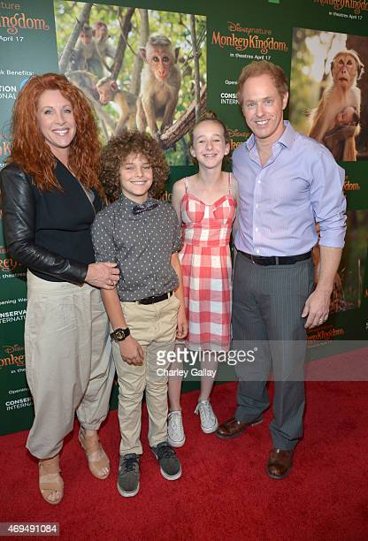 Actress Jenna DeAngeles Django Sbarge Gracie Sbarge and actor Raphael Sbarge attend the world premiere Of Disney's Monkey Kingdom at Pacific Theatres...