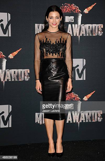 Actress Jenna Dewan Tatum poses in the press room at the 2014 MTV Movie Awards at Nokia Theatre LA Live on April 13 2014 in Los Angeles California