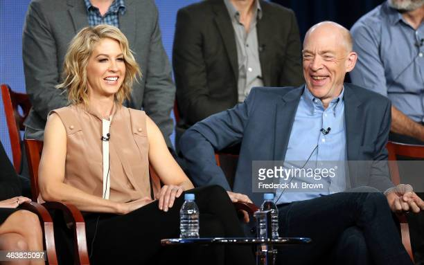 Actress Jenna Elfman and actor J K Simmons of the television show 'Growing Up Fisher' speak during the NBC portion of the 2014 Television Critics...
