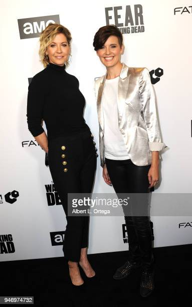Actress Jenna Elfman and actress Maggie Grace arrive for the Fathom Events And AMC's 'Survival Sunday The Walking Dead And Fear The Walking Dead'...
