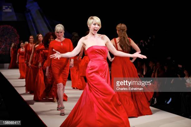 Actress Jenna Elfman attends the Heart Truth's Red Dress Collection Fall 2012 fashion show during MercedesBenz Fashion Week at Hammerstein Ballroom...