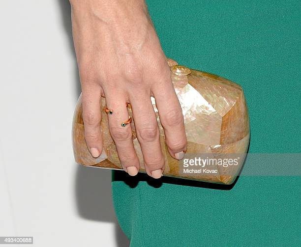 Actress Jenna Elfman handbag detail attends the 22nd Annual ELLE Women in Hollywood Awards at Four Seasons Hotel Los Angeles at Beverly Hills on...