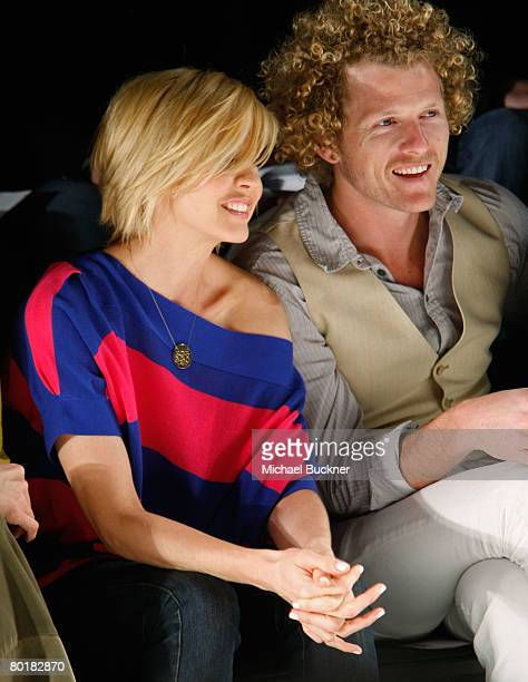 Actress Jenna Elfman in the front row at the Whitley Kros Fall 2008 fashion show during MercedesBenz Fashion Week held at Smashbox Studios on March 9...