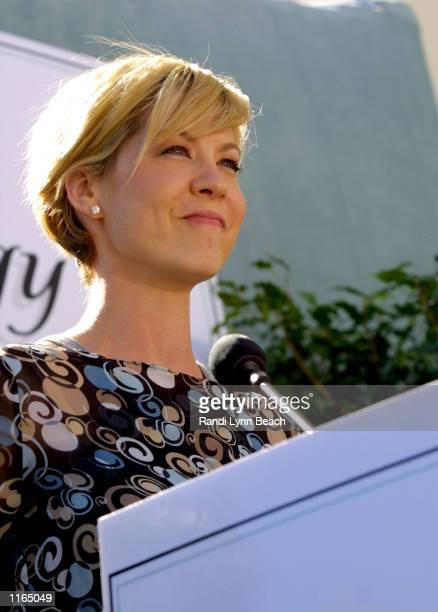 Actress Jenna Elfman speaks at the opening of the Church of Scientology Mission of SoMa September 29 2001 in San Francisco CA The new church was...