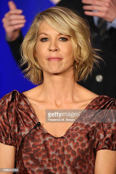 Actress Jenna Elfman speaks onstage at the 1600 Penn panel session during the NBCUniversal portion of the 2013 Winter TCA Tour Day 3 at the Langham...