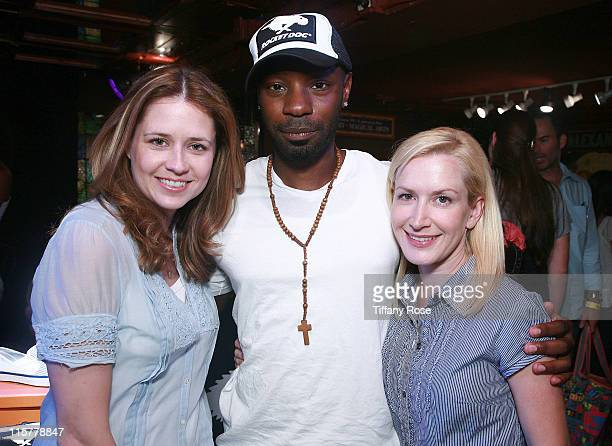 Actress Jenna Fischer actor Nelsan Ellis and actress Angela Kinsey attend Melanie Segal's Teen Choice Lounge Presented by Rocket Dog at The Magic...