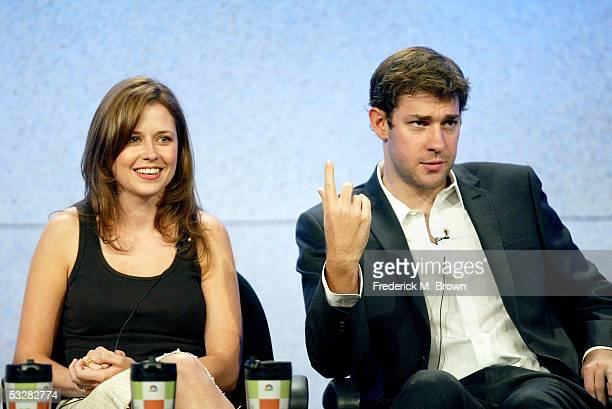 """Actress Jenna Fischer and actor John Krasinski attend the panel discussion for """"The Office"""" during the NBC 2005 Television Critics Association Summer..."""