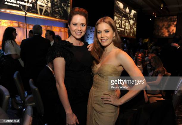 Actress Jenna Fischer and actress Amy Adams attend the 63rd Annual Directors Guild Of America Awards held at the Grand Ballroom at Hollywood &...