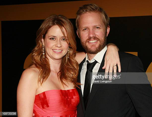 Actress Jenna Fischer and husband Lee Kirk attend the AMC After Party for the 62nd Annual EMMY Awards at Soho House on August 29 2010 in West...