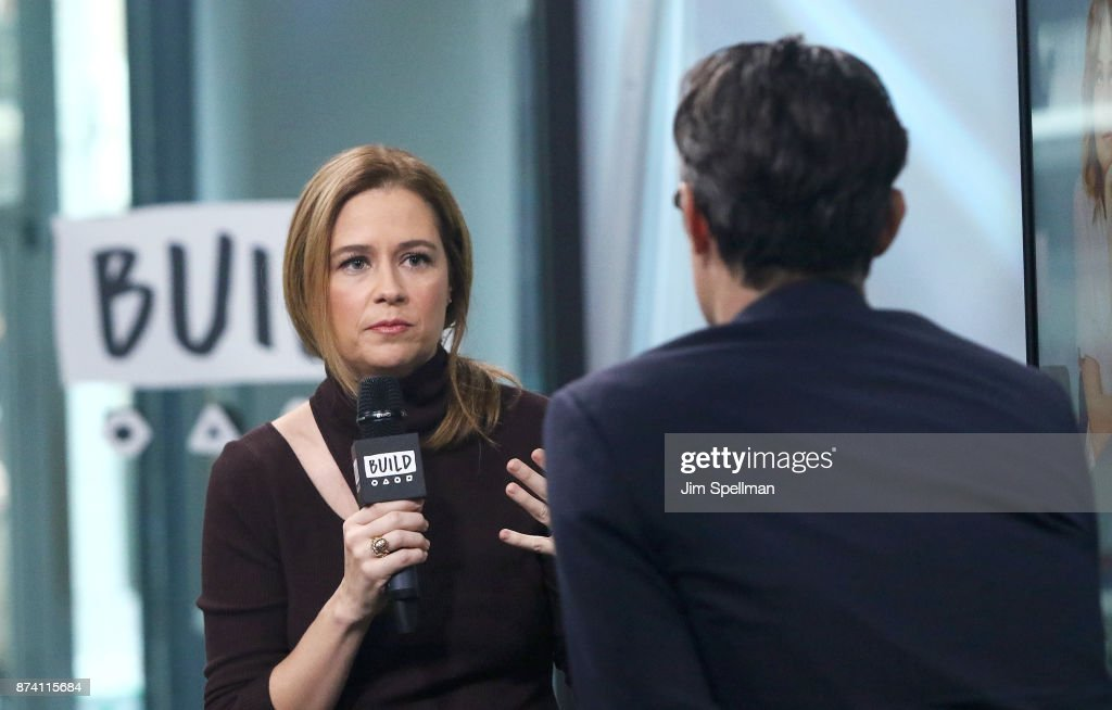 Actress Jenna Fischer and moderator Ricky Camilleri attend Build to discuss 'The Actor's Life: A Survival Guide' at Build Studio on November 14, 2017 in New York City.