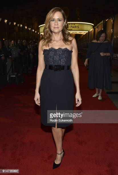 Actress Jenna Fischer arrives at the premiere of Warner Bros Pictures' 'The 1517 to Paris' at Warner Bros Studios on February 5 2018 in Burbank...