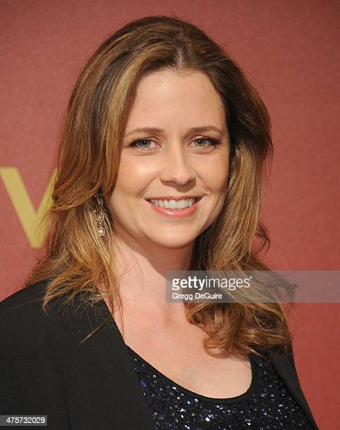 Actress Jenna Fischer arrives at the QVC 5th Annual Red Carpet Style event at The Four Seasons Hotel on February 28 2014 in Beverly Hills California