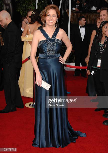 Actress Jenna Fischer arrives to the 14th Annual Screen Actors Guild Awards at the Shrine Auditorium on January 27, 2008 in Los Angeles, California.