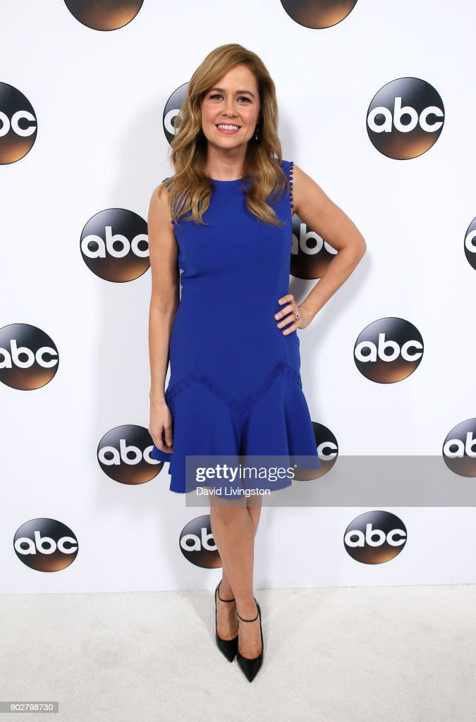 Actress Jenna Fischer attends Disney ABC Television Group's TCA Winter Press Tour 2018 at The Langham Huntington, Pasadena on January 8, 2018 in Pasadena, California.