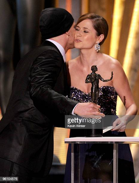 Actress Jenna Fischer presents actor Michael C Hall the Male Actor In A Drama Series award for Dexter onstage at the 16th Annual Screen Actors Guild...