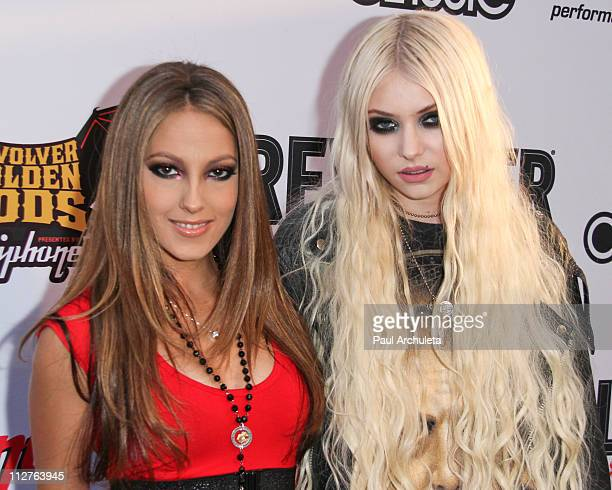 Actress Jenna Haze and Musician / Actress Taylor Momsen arrive at the 3rd annual Revolver Golden God Awards at Club Nokia on April 20 2011 in Los...
