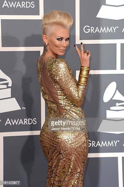 Actress Jenna Jameson arrives at the 55th Annual GRAMMY Awards at Staples Center on February 10 2013 in Los Angeles California