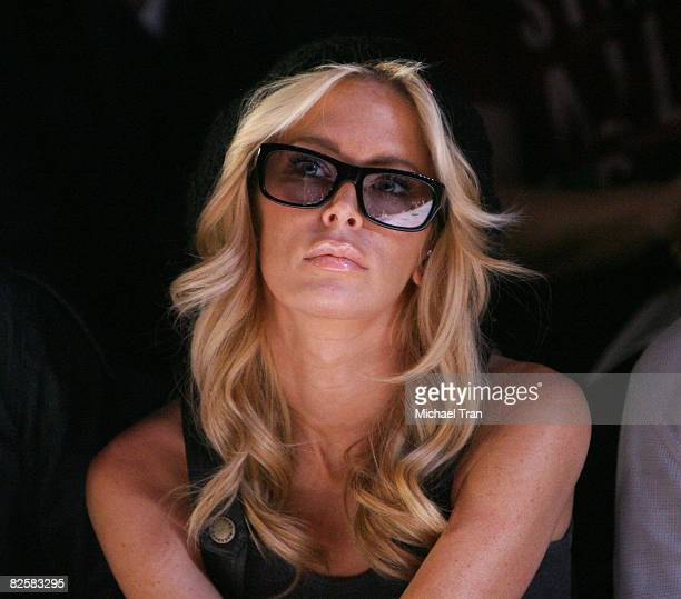 Actress Jenna Jameson front row at Monarchy Collection Fall 2008 during Mercedes Benz LA Fashion Week held at Smashbox Studios on March 13, 2008 in...