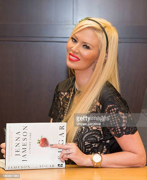 """Actress Jenna Jameson signs copies of her new book """"Sugar"""" at Barnes & Noble bookstore at The Grove on October 25, 2013 in Los Angeles, California."""