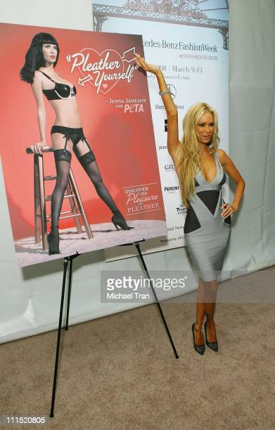Actress Jenna Jameson unveils new PETA ad during Mercedes Benz LA Fashion Week held at Smashbox Studios on March 10 2008 in Culver City California