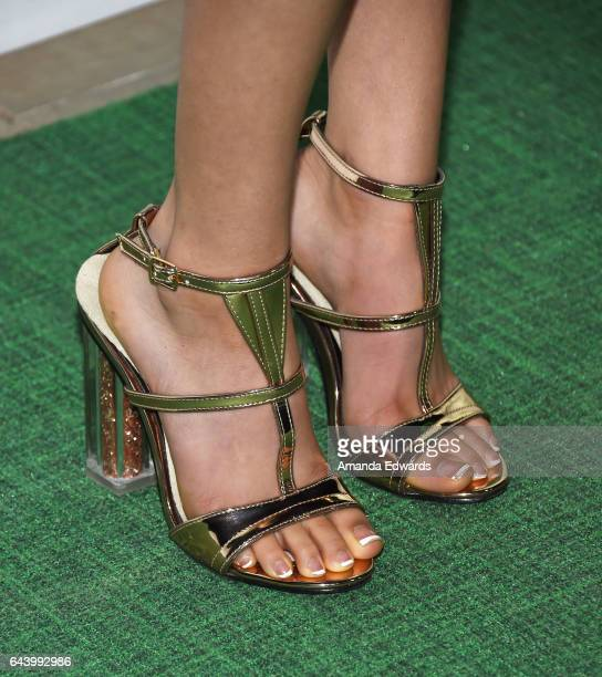 Actress Jenna Ortega shoe detail arrives at the 14th Annual Global Green PreOscar Gala at TAO Hollywood on February 22 2017 in Los Angeles California