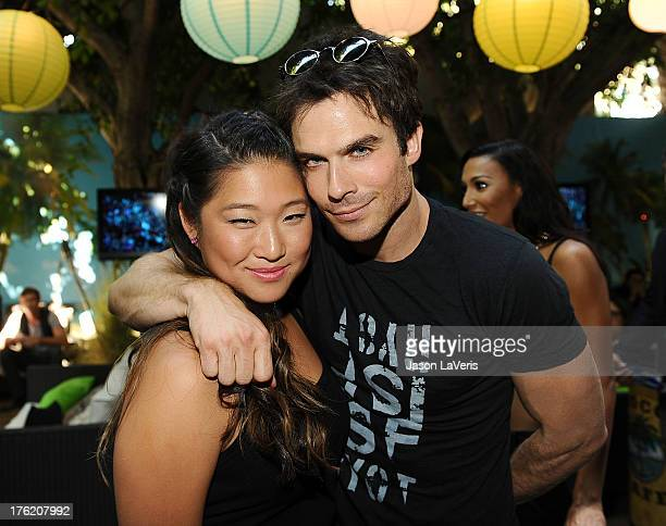 Actress Jenna Ushkowitz and actor Ian Somerhalder pose in the green room at the 2013 Teen Choice Awards at Gibson Amphitheatre on August 11 2013 in...