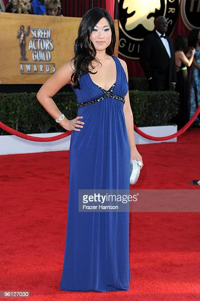 Actress Jenna Ushkowitz arrives at the 16th Annual Screen Actors Guild Awards held at the Shrine Auditorium on January 23 2010 in Los Angeles...