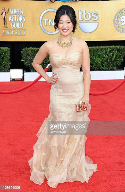 Actress Jenna Ushkowitz arrives at the 17th Annual Screen Actors Guild Awards held at The Shrine Auditorium on January 30, 2011 in Los Angeles,...