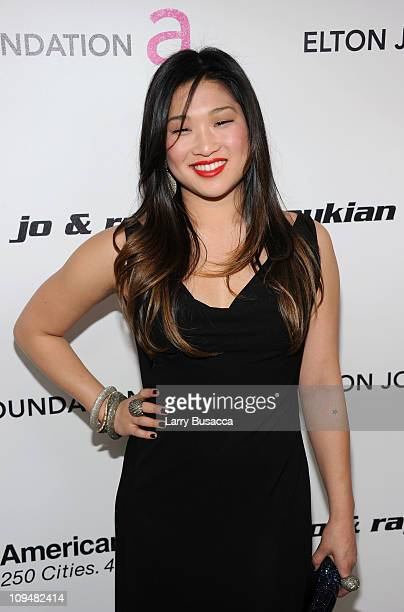 Actress Jenna Ushkowitz arrives at the 19th Annual Elton John AIDS Foundation Academy Awards Viewing Party at the Pacific Design Center on February...