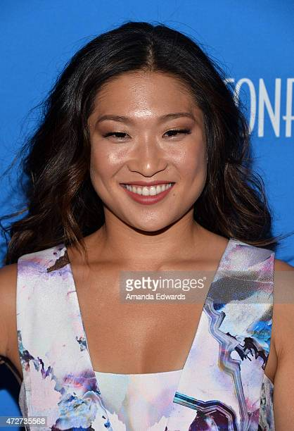 Actress Jenna Ushkowitz arrives at the 3rd Annual Nautica Oceana Beach House Party at the Marion Davies Guest House on May 8 2015 in Santa Monica...