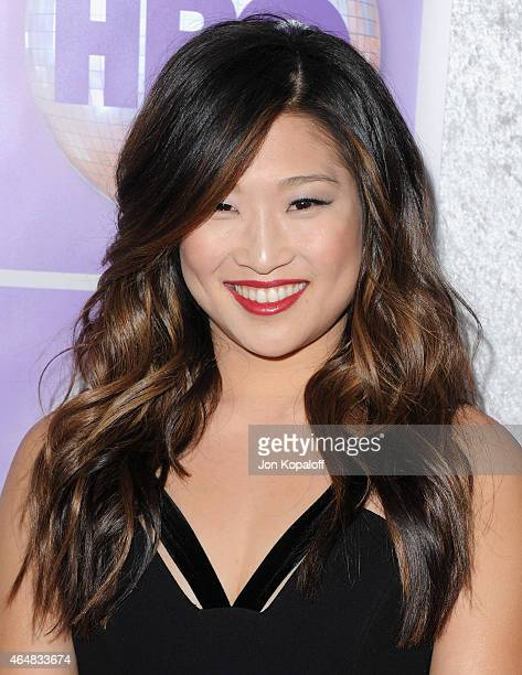 Actress Jenna Ushkowitz arrives at the Family Equality Council's Los Angeles Awards Dinner at The Beverly Hilton Hotel on February 28, 2015 in...