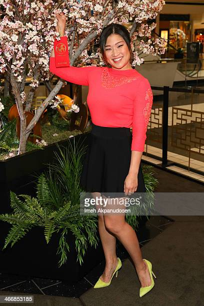 Actress Jenna Ushkowitz celebrates the Year of the Horse with New Year wishes on an enchanting wishing tree at The Beverly Center on February 4 2014...
