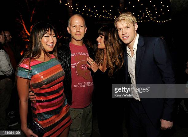 Actress Jenna Ushkowitz, executive producer/creator Ryan Murphy, actors Lea Michele and Chord Overstreet pose at the after party for the premiere of...