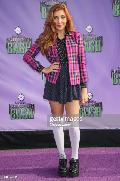 Actress Jennessa Rose arrives at Hub Network's 1st annual Halloween bash at Barker Hangar on October 20 2013 in Santa Monica California