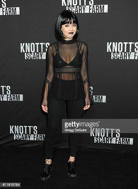 Actress Jennette McCurdy arrives at the Knott's Scary Farm Black Carpet Event at Knott's Berry Farm on September 30 2016 in Buena Park California