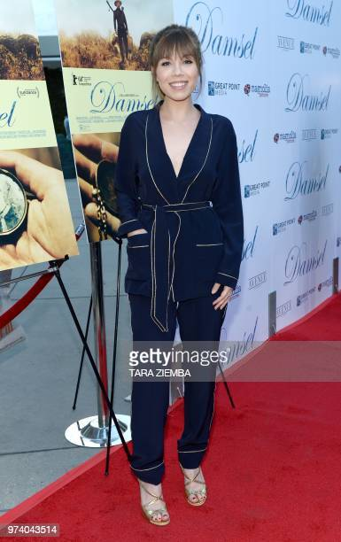 US actress Jennette McCurdy arrives at the Magnolia Pictures' 'Damsel' premiere at ArcLight Hollywood in Hollywood California on June 13 2018