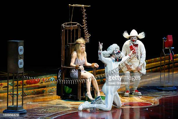 Actress Jennette McCurdy makes a cameo on stage during the Las Vegas premiere of Zarkana by Cirque du Soleil at the Aria Resort Casino at CityCenter...
