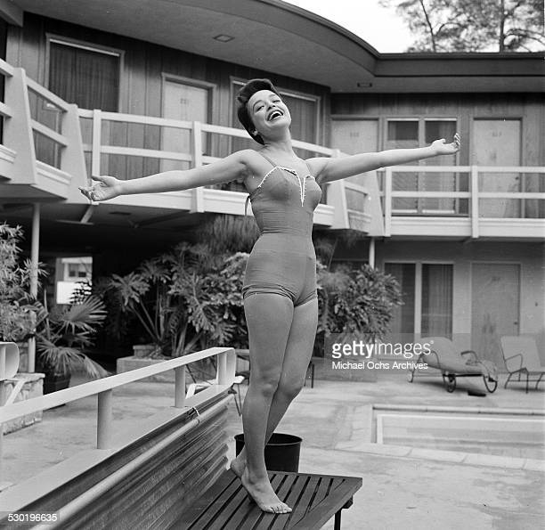 Actress Jenni Westmore poses by the pool at home in Los AngelesCA