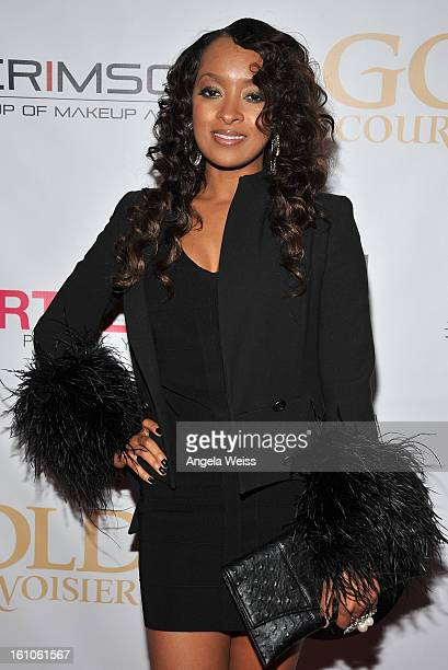 """Actress Jennia Fredrique arrives at BET Network's Music Matters Showcase """"Lipstick On The Mic"""" at Belasco Theatre on February 8, 2013 in Los Angeles,..."""