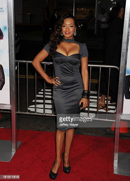 Actress Jennia Fredrique arrives at the Los Angeles premiere of 'Baggage Claim' at Regal Cinemas L.A. Live on September 25, 2013 in Los Angeles,...
